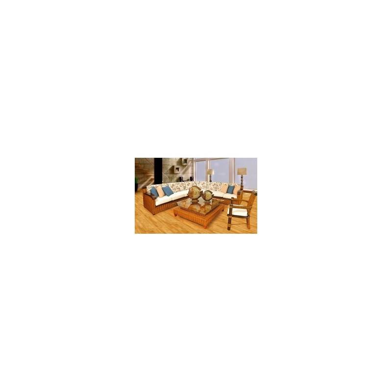 Sala con estructura aluminio cojines en tela n utica for Sofa tela nautica